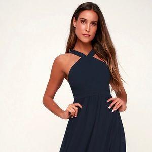 Lulus Air of Romance Navy Blue Maxi dress